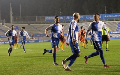 Els jugadors del Sabadell celebren l'1-1 | CES