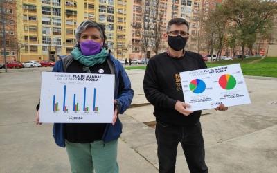 Els regidors Nani Valero i Lluís Perarnau, presentant l'estudi sobre el PAM, a la plaça de Tierno Galván | Pau Duran