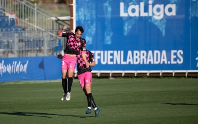 Josu Ozkoidi, celebrant el seu gol a Fuenlabrada | Roger Benet