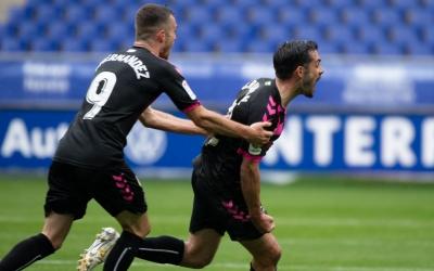 Óscar Rubio, celebrant el seu gol al Tartiere | Roger Benet