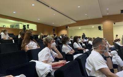 Professionals de la infermeria, en la jornada d'avui al Taulí/ Hospital de Sabadell