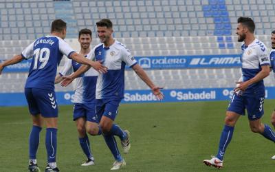 Moment de la celebració del primer gol ahir | CE Sabadell