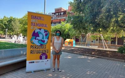 Marta Morell, amb el cartell de la jornada/ Karen Madrid