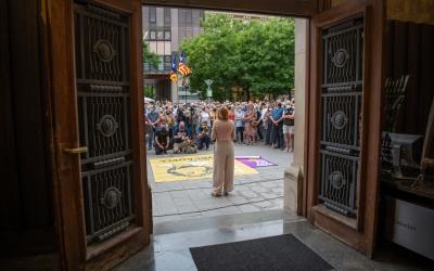 Forcadell en l'acte de rebuda popular que es va fer la plaça de Sant Roc | Roger Benet