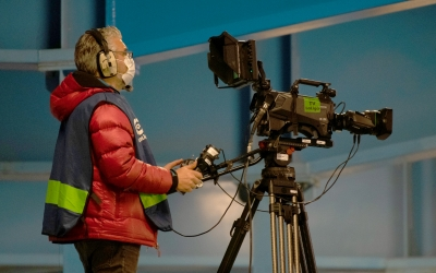 Un càmera de televisió al Ponferradina-Sabadell d'aquesta última temporada | Roger Benet