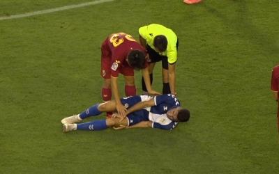 Gabarre, en el moment de la lesió | Twitch Ràdio Sabadell