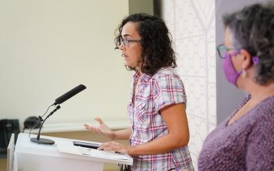 La regidora Anna Lara (Crida) a la Sala de Premsa de l'Ajuntament | Cedida