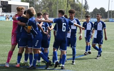 Els jugadors del CES juvenil celebrant un gol a la victòria contra l'Atlètic Balears | Twitter