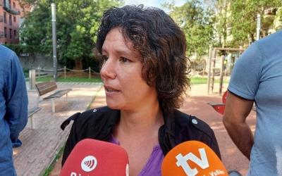 Marta Morell, durant la roda de premsa d'aquest matí/ Karen Madrid
